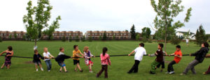 Children playing tug a rope in a field