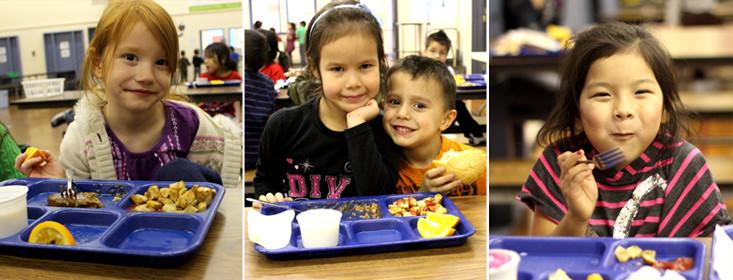 kids eating for the school lunch program
