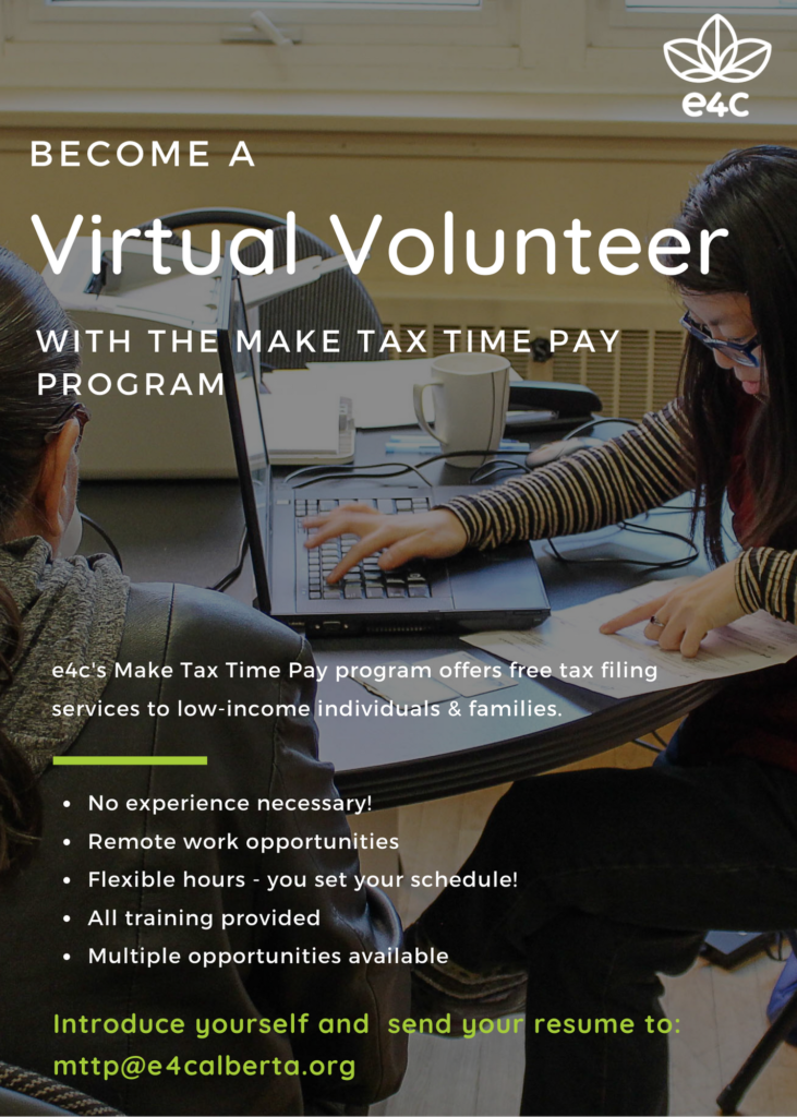 Advertisement for Make Tax time Pay volunteer opportunities